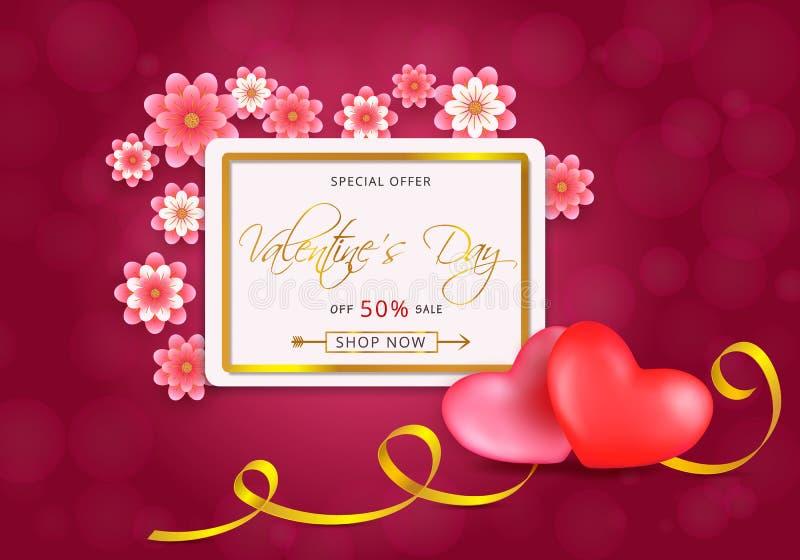 Tarjeta de la venta de día de San Valentín con el marco de oro con los corazones y las flores del papel-corte en fondo rosado stock de ilustración