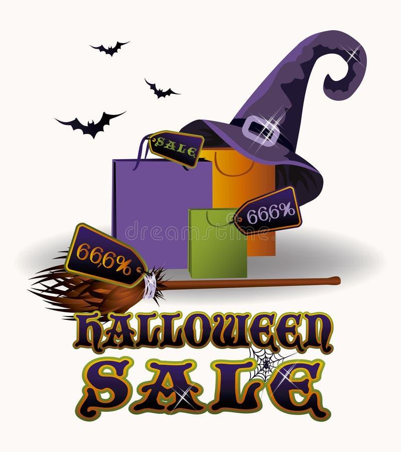 Tarjeta de la venta de Halloween, vector stock de ilustración
