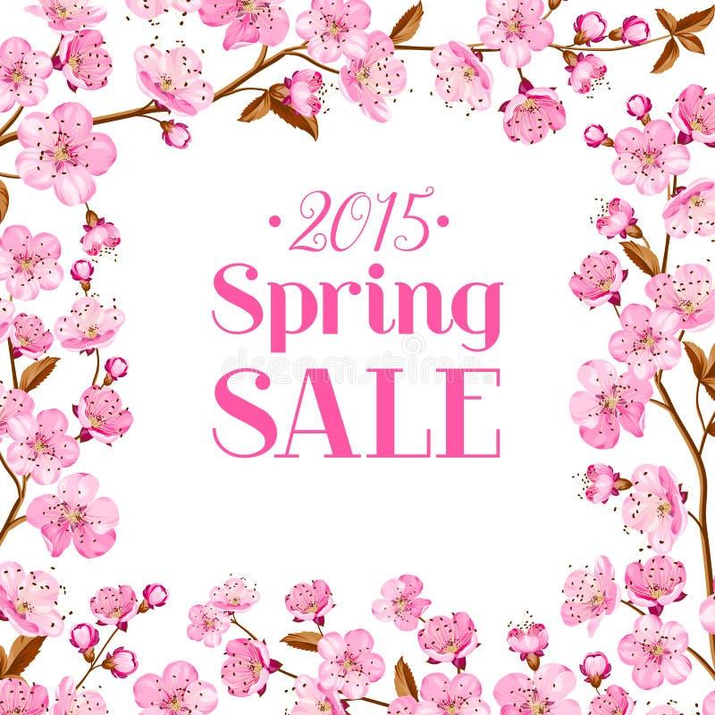 Tarjeta de la venta de la flor de cerezo ilustración del vector