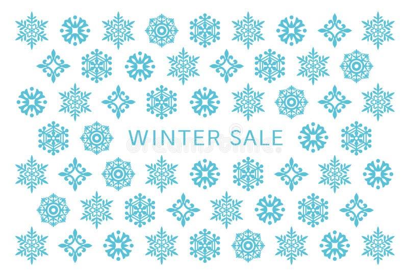 Tarjeta de la venta del invierno con los cristales de la nieve libre illustration