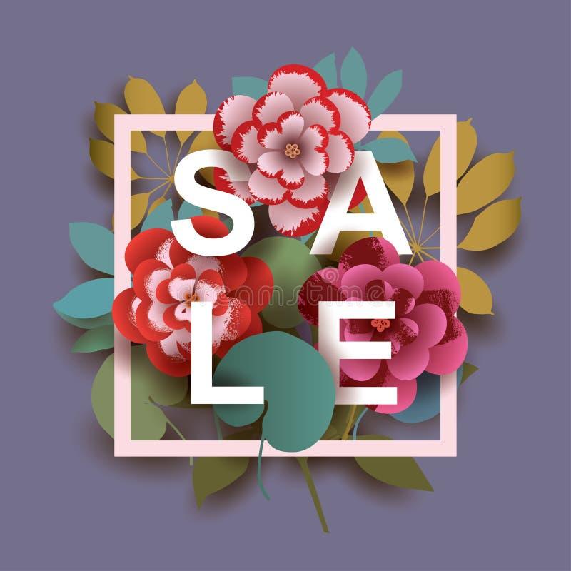 Tarjeta de la venta del verano con diversos elementos florales stock de ilustración