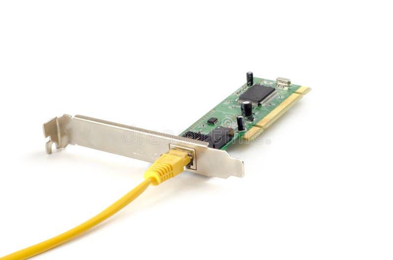 Tarjeta de LAN Network con el conector RJ-45 foto de archivo libre de regalías