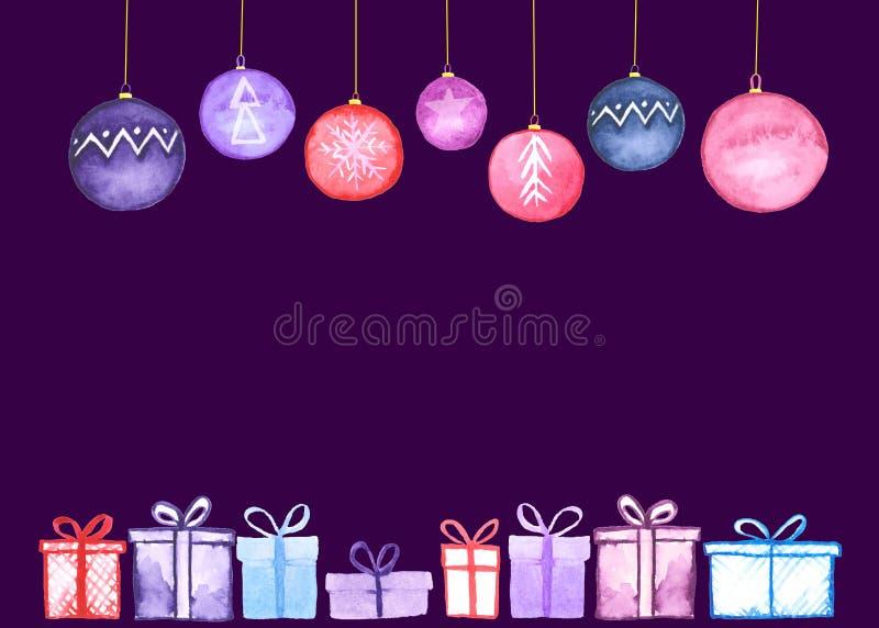 Tarjeta de las bolas de los regalos de Navidad stock de ilustración