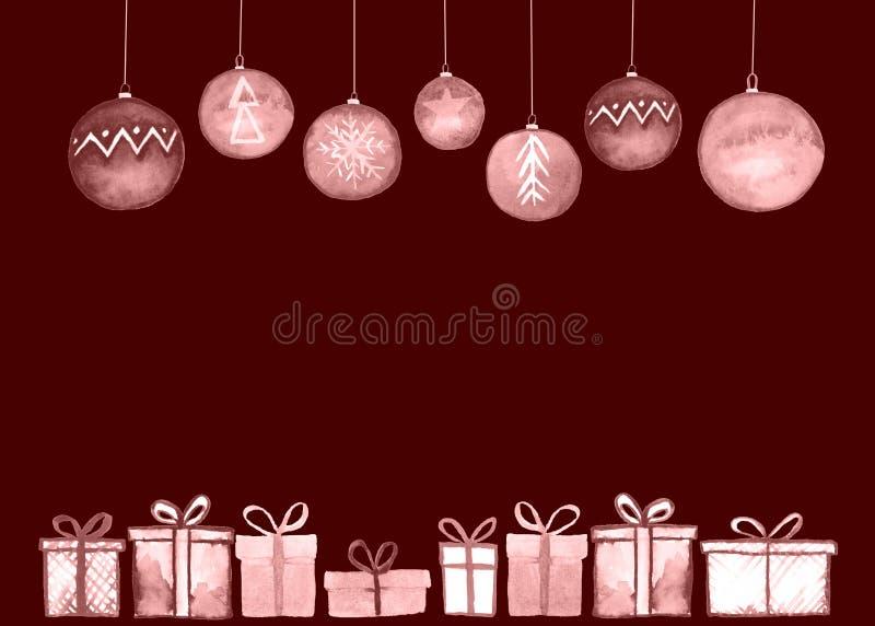 Tarjeta de las bolas de los regalos de Navidad ilustración del vector