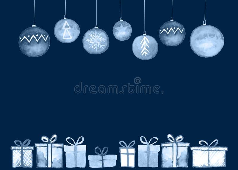 Tarjeta de las bolas de los regalos de Navidad libre illustration