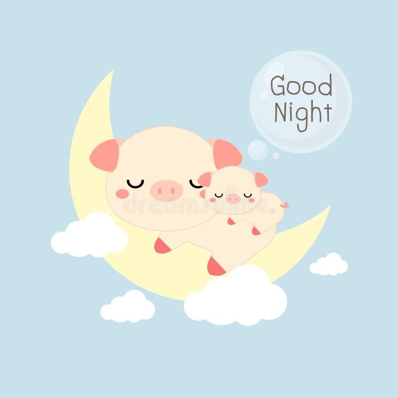 Tarjeta de las buenas noches Sueño lindo del cerdo y del bebé en la luna Ilustración del vector stock de ilustración