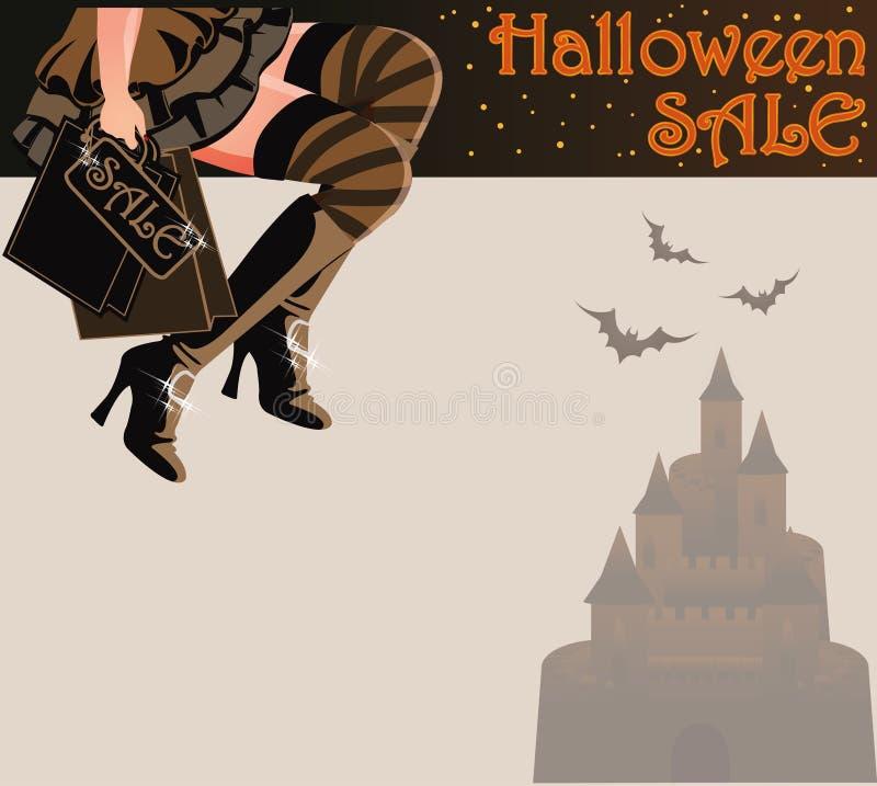 Tarjeta de las compras de la venta de Halloween ilustración del vector