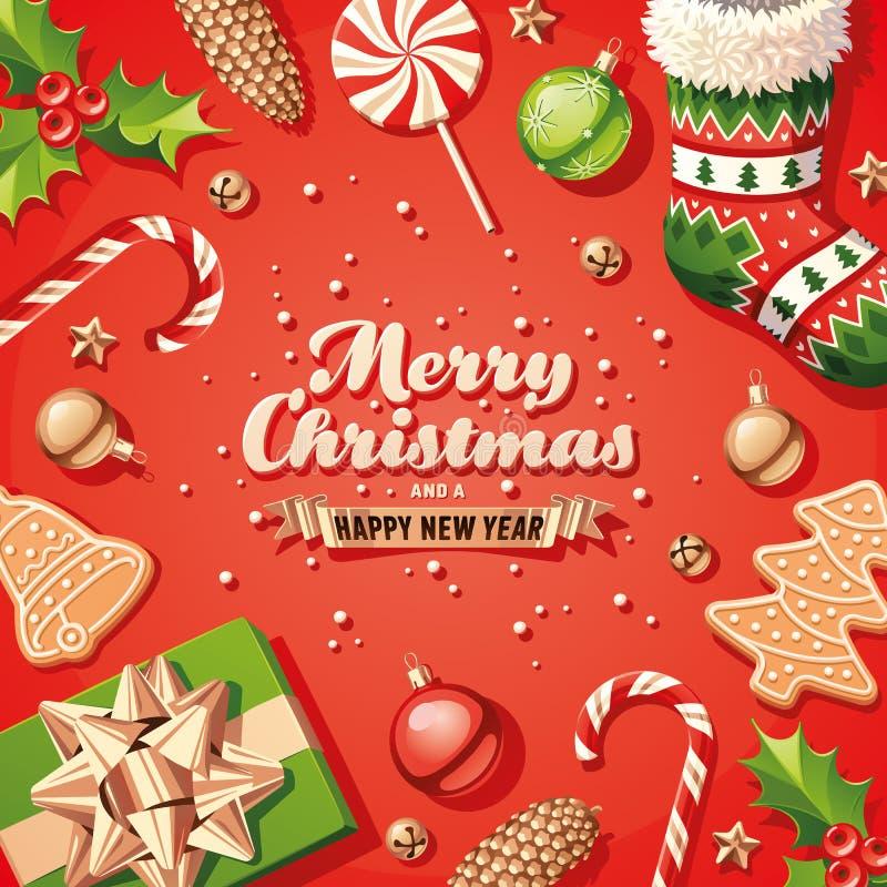 Tarjeta de las decoraciones de la Navidad imágenes de archivo libres de regalías