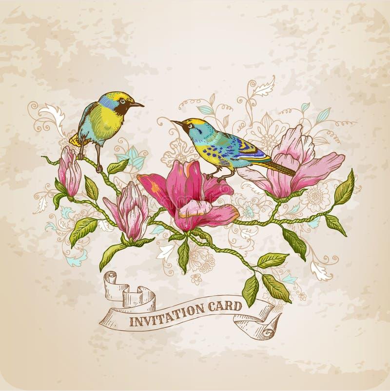 Tarjeta de las flores y de los pájaros libre illustration