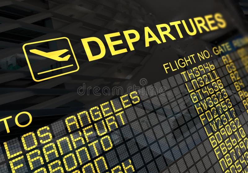 Tarjeta de las salidas del aeropuerto internacional libre illustration