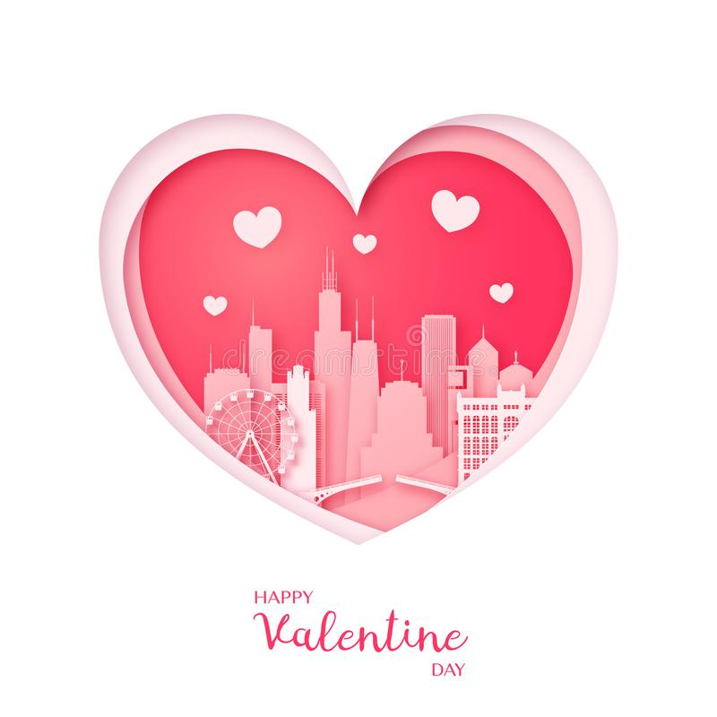 Tarjeta de las tarjetas del día de San Valentín Corazón del corte del papel y ciudad de Chicago ilustración del vector