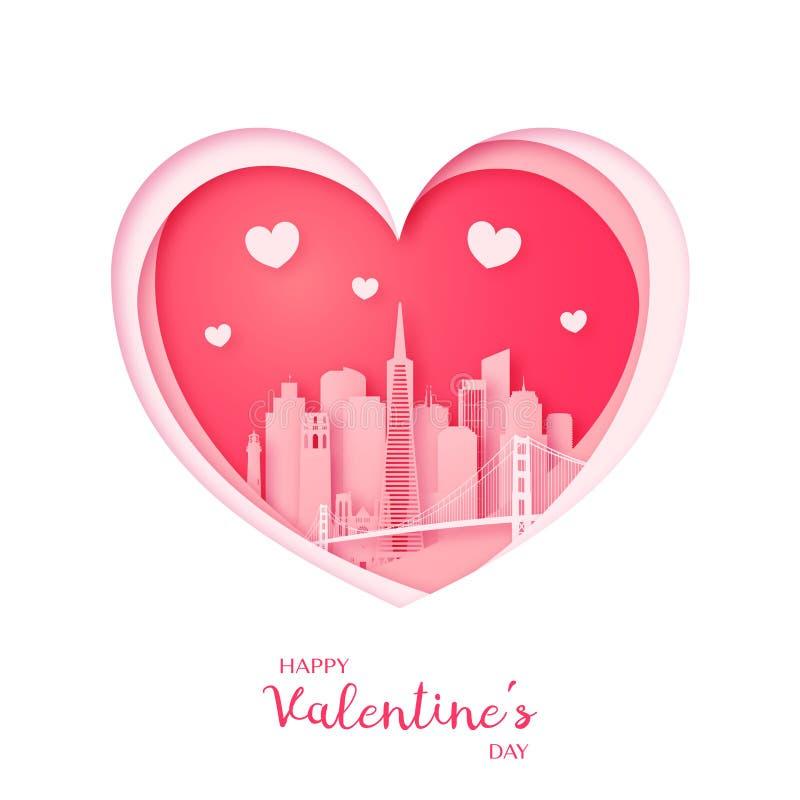 Tarjeta de las tarjetas del día de San Valentín Corazón del corte del papel y ciudad de San Francisco ilustración del vector