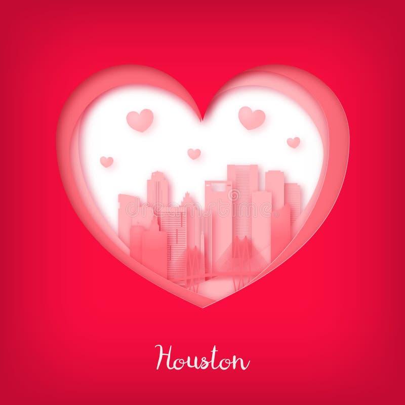Tarjeta de las tarjetas del día de San Valentín Corazón del corte del papel y ciudad de Houston ilustración del vector