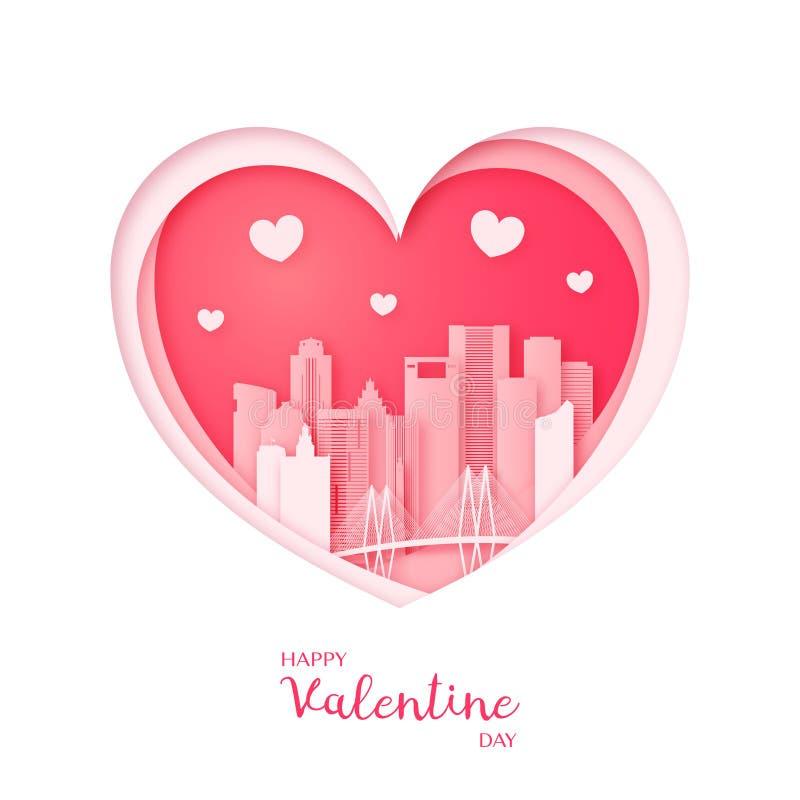 Tarjeta de las tarjetas del día de San Valentín Corazón del corte del papel y ciudad de Houston stock de ilustración