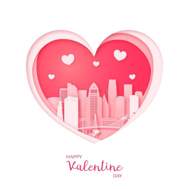 Tarjeta de las tarjetas del día de San Valentín Corazón del corte del papel y ciudad de Los Ángeles libre illustration