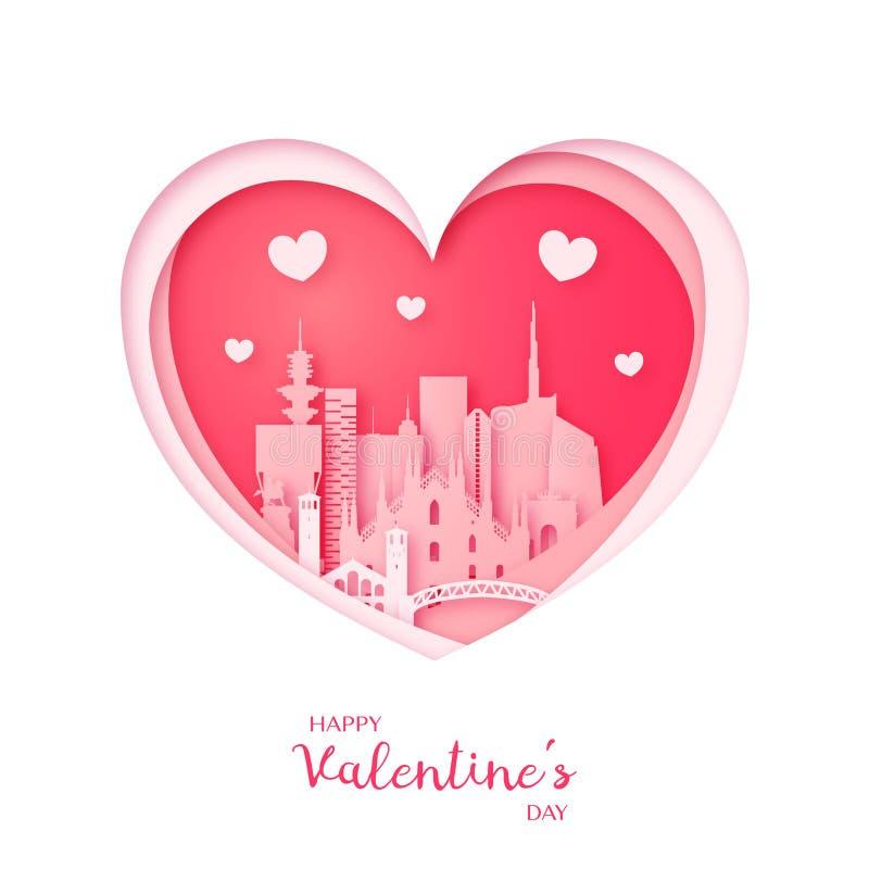Tarjeta de las tarjetas del día de San Valentín Corazón del corte del papel y ciudad de Milán Día feliz del `s de la tarjeta del  ilustración del vector