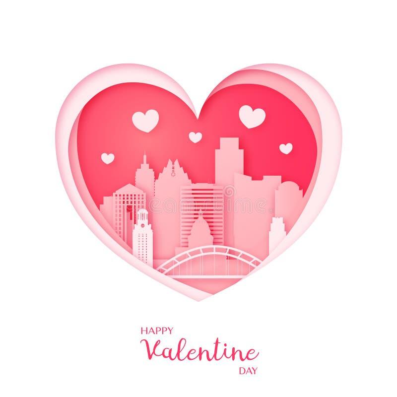 Tarjeta de las tarjetas del día de San Valentín Corazón y la ciudad Austin del corte del papel ilustración del vector