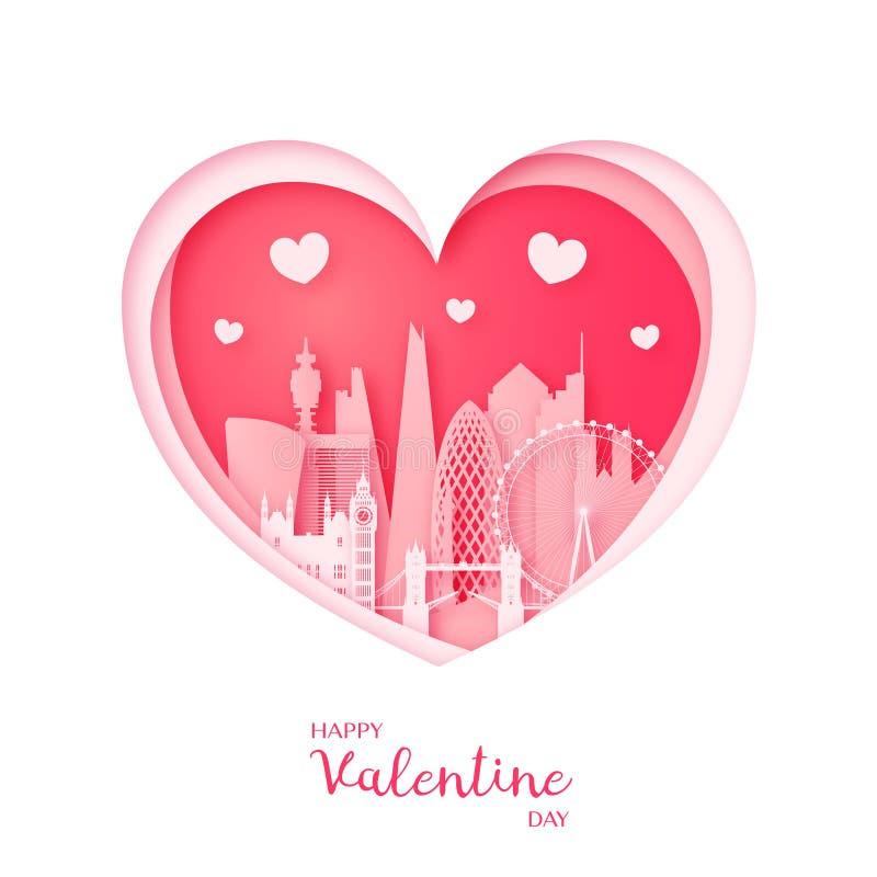 Tarjeta de las tarjetas del día de San Valentín Corazón y la ciudad Londres del corte del papel libre illustration