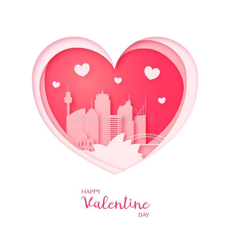 Tarjeta de las tarjetas del día de San Valentín Corazón y la ciudad Sydney del corte del papel stock de ilustración
