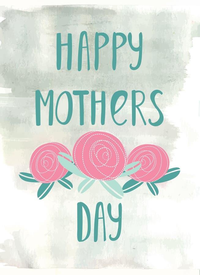Tarjeta de letras de la mano para el día de madres libre illustration