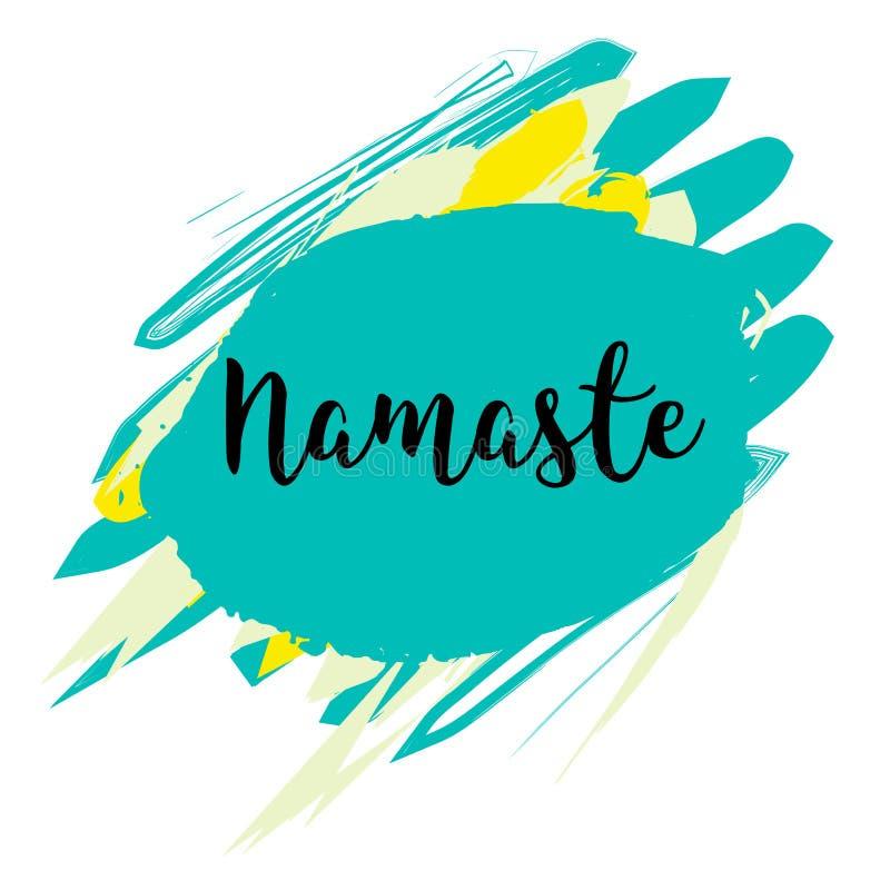 Tarjeta de letras de Namaste Hola en hindi Ejemplo de la tinta ilustración del vector
