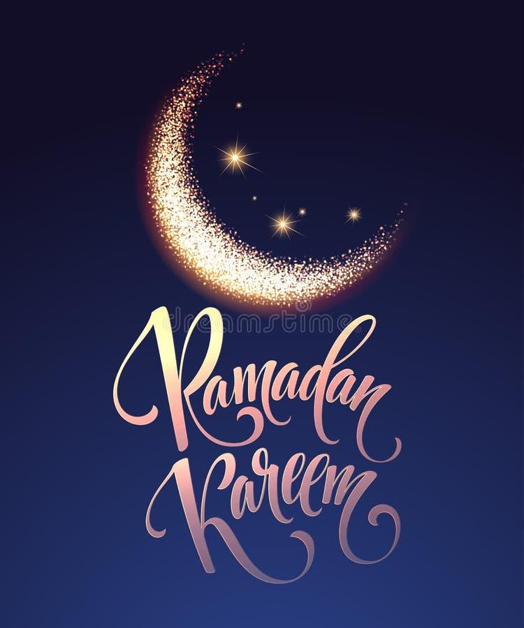 Tarjeta de letras del saludo de Ramadan Kareem con la luna y las estrellas Ilustración del vector libre illustration
