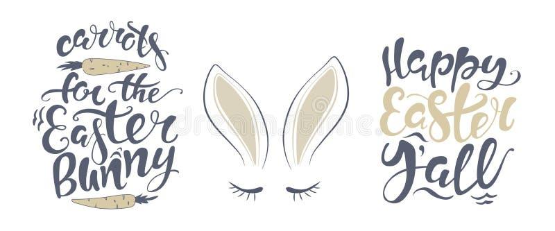 Tarjeta de letras feliz del conejito de pascua del vector cita para diseñar la tarjeta de felicitación, cartel, bandera, arte imp libre illustration