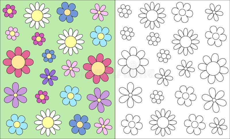 Tarjeta de libro estilizada de colorante del niño de la primavera de la cabeza de flor del esquema, v stock de ilustración