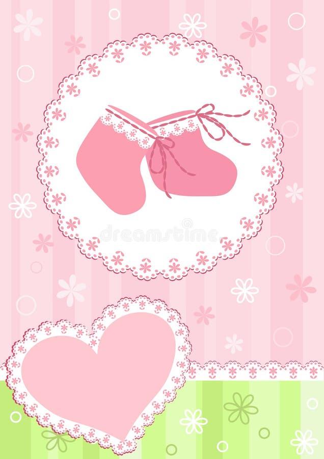 Tarjeta de llegada del bebé. Color de rosa. stock de ilustración