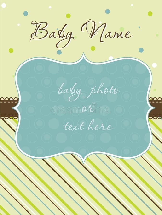 Tarjeta de llegada del bebé con el marco stock de ilustración