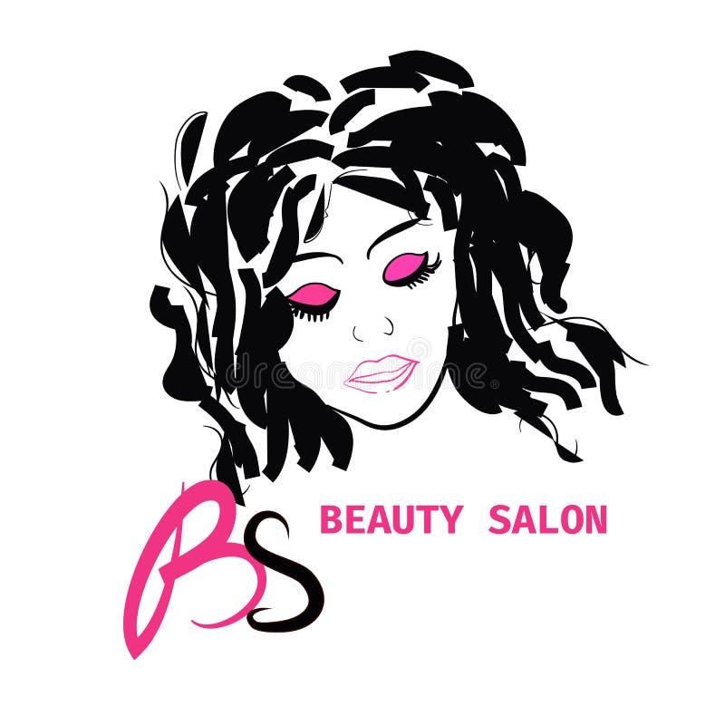 TARJETA de Logo Hairstyle PARA el SALÓN de BELLEZA EN VECTOR CON la MUCHACHA HERMOSA libre illustration