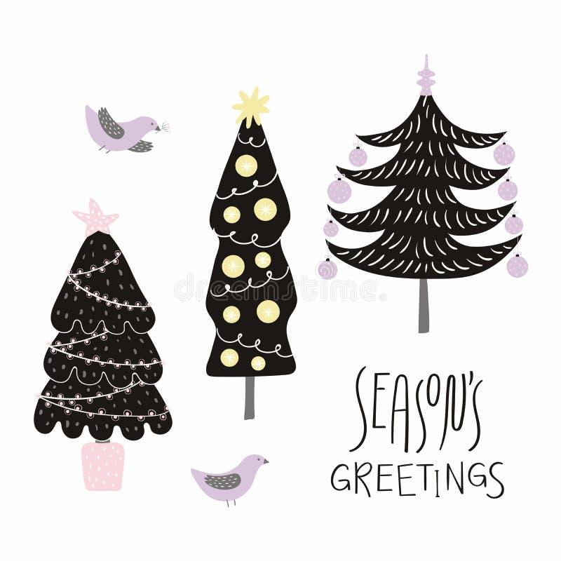 Tarjeta de los árboles de navidad ilustración del vector