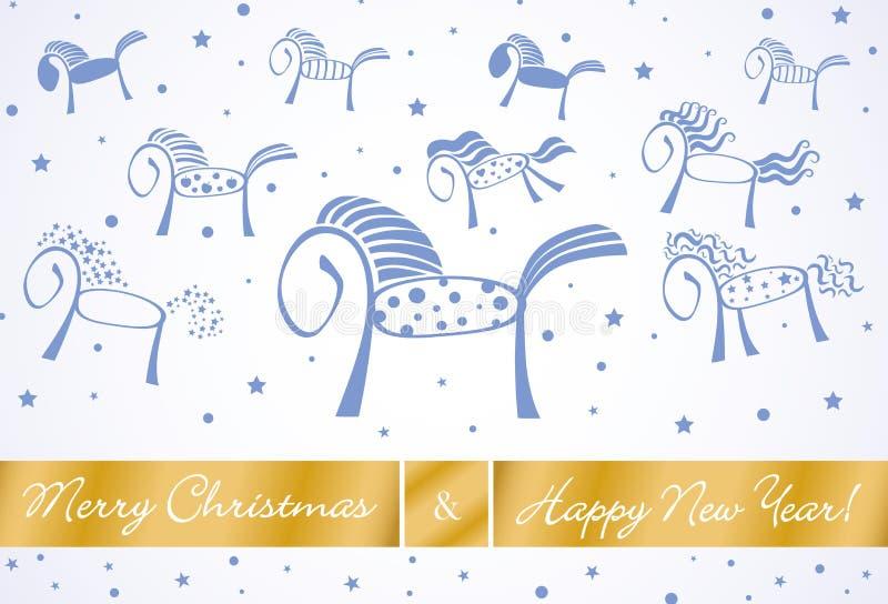 Tarjeta 201 de los caballos de la Feliz Navidad y de la Feliz Año Nuevo stock de ilustración
