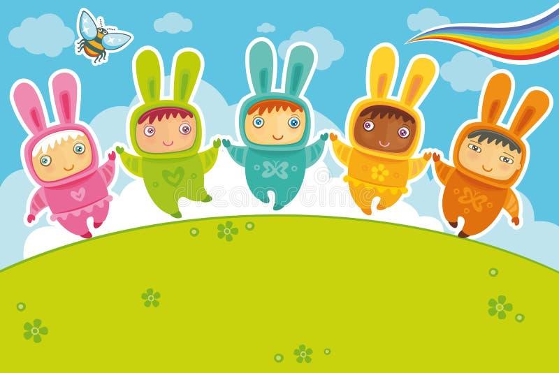 Tarjeta de los conejos stock de ilustración
