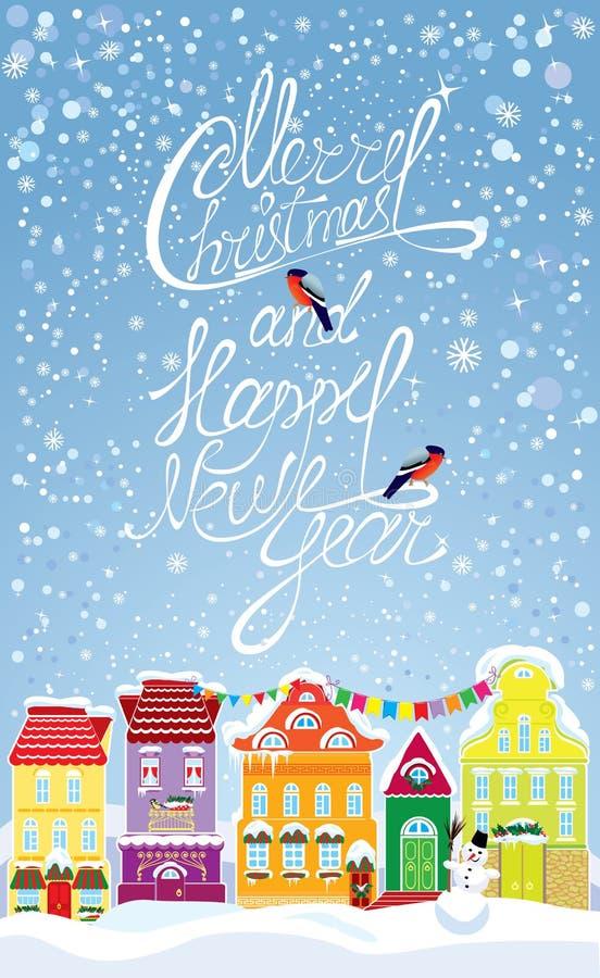 Tarjeta de los días de fiesta de la Navidad y del Año Nuevo con el pequeño fa stock de ilustración