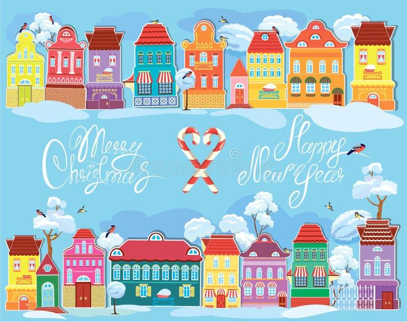 Tarjeta de los días de fiesta de la Navidad y del Año Nuevo con la pequeña hada ilustración del vector