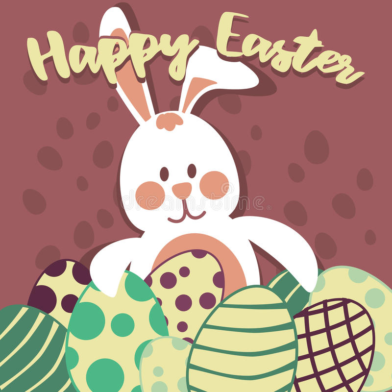 Tarjeta de los huevos de Pascua y del conejito de pascua fotos de archivo
