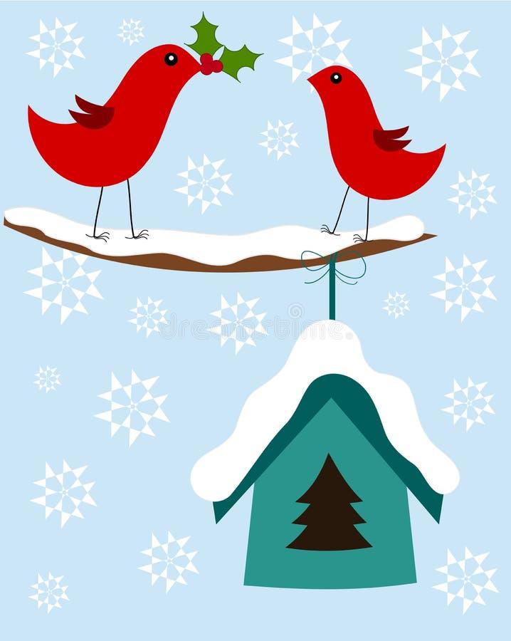Tarjeta de los pájaros de la Navidad ilustración del vector