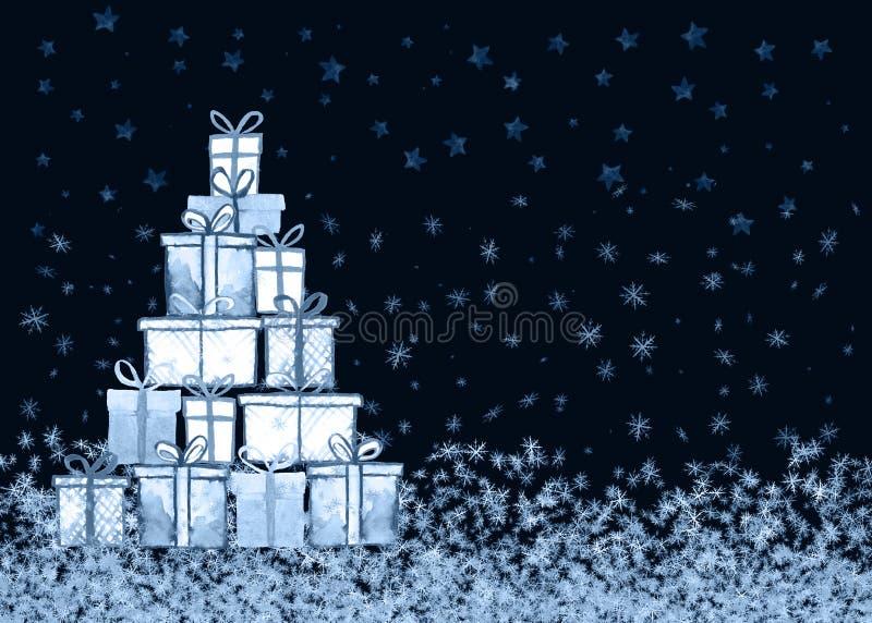 Tarjeta de los regalos de Navidad ilustración del vector