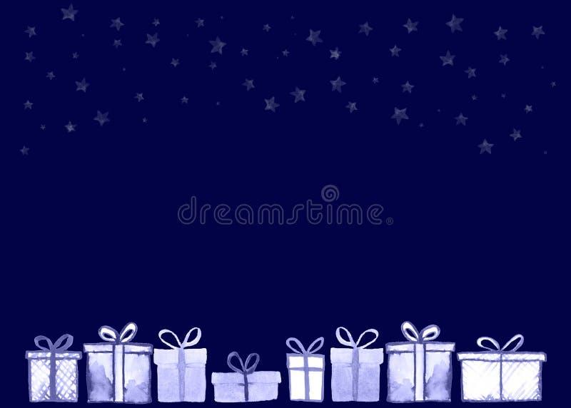 Tarjeta de los regalos de Navidad stock de ilustración