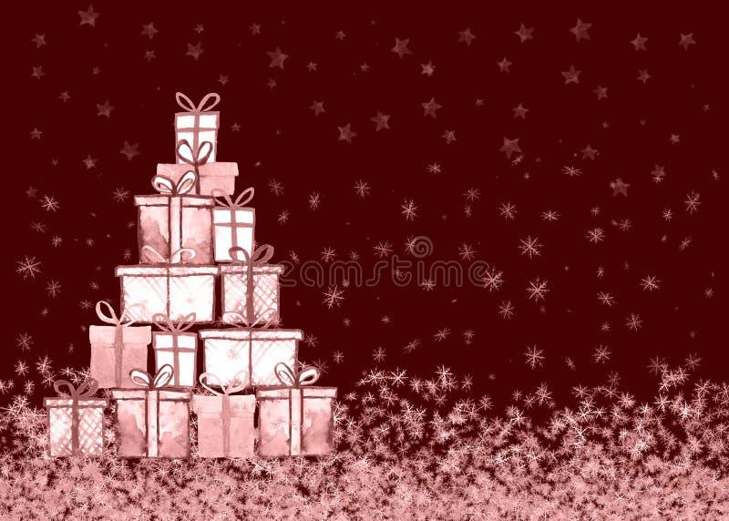 Tarjeta de los regalos de Navidad Ejemplo a pulso de la acuarela del extracto para la tarjeta de felicitación, invitación, bander ilustración del vector