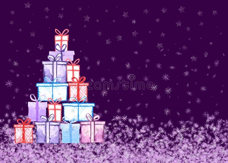 Tarjeta de los regalos de Navidad Ejemplo a pulso de la acuarela del extracto para la tarjeta de felicitación, invitación, bander stock de ilustración