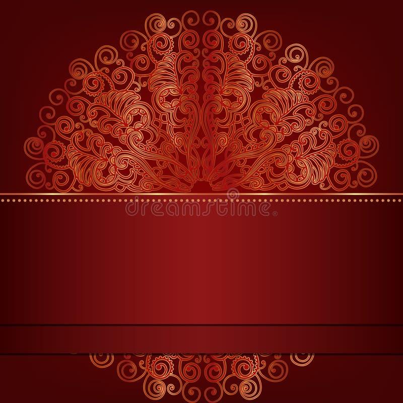 Tarjeta de lujo con el ornamento redondo del oro. ilustración del vector