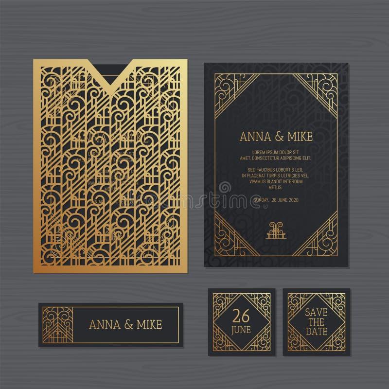 Tarjeta de lujo de la invitación o de felicitación de la boda con geométrico ilustración del vector