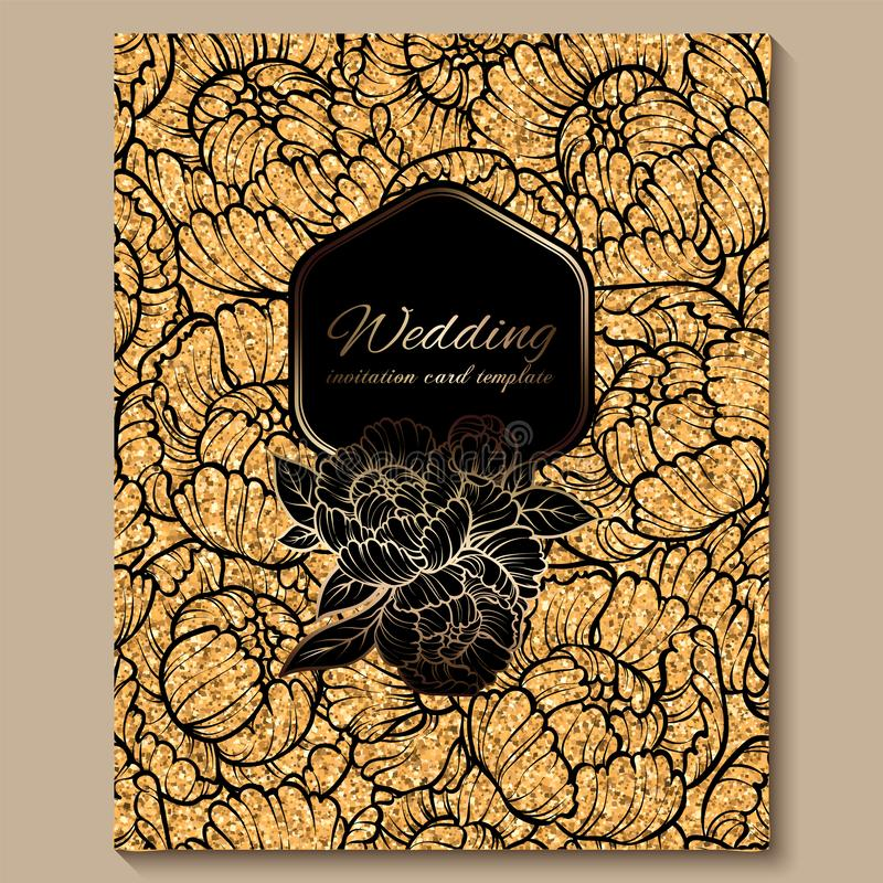 Tarjeta de lujo real antigua de la invitación que se casa, fondo de oro del brillo con el marco y lugar para el texto, follaje de fotografía de archivo
