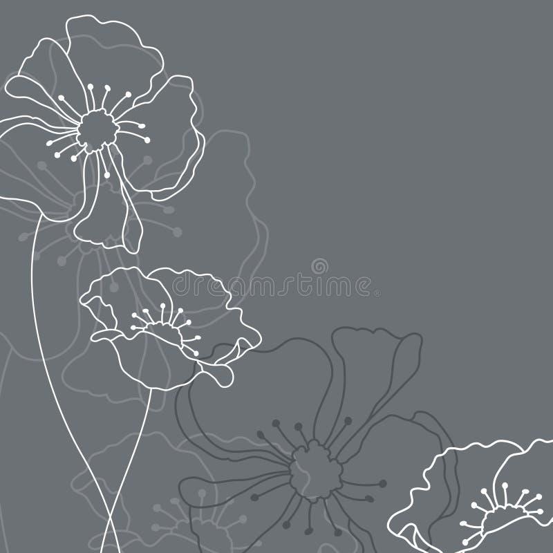 Tarjeta de luto con Grey And White Flowers ilustración del vector