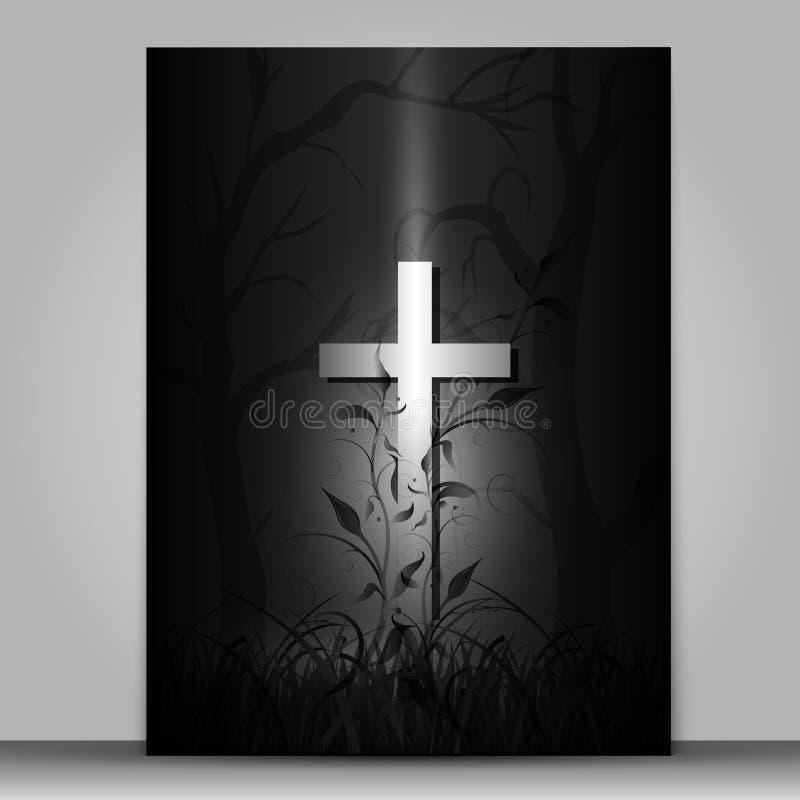 tarjeta de luto de la cruz del efecto 3d aislada en fondo gris ilustración del vector