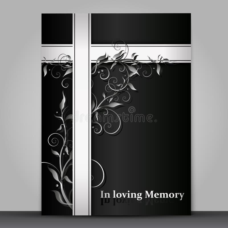 Tarjeta de luto oscura con efecto del ornamento floral 3d aislada sobre fondo gris libre illustration