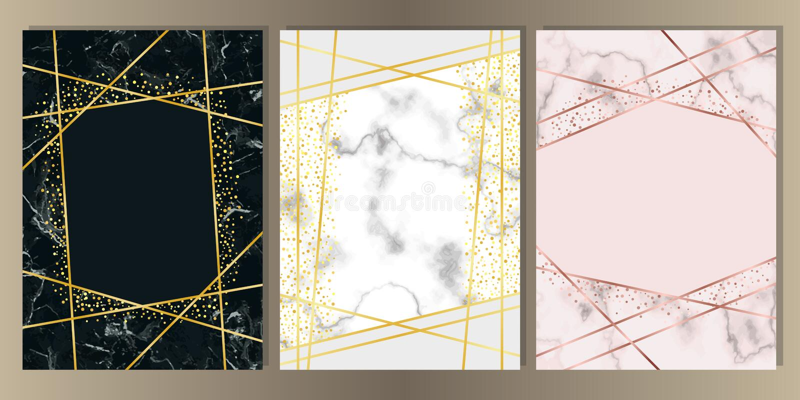 Tarjeta de mármol A4 con la línea sistema del oro ilustración del vector
