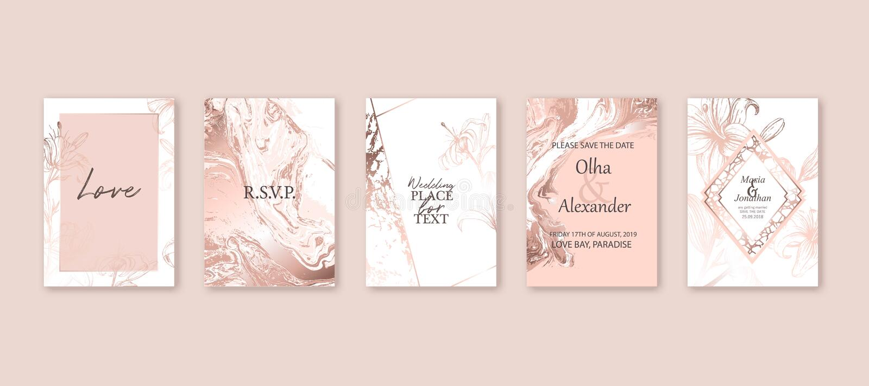 Tarjeta de m?rmol de la textura del oro de Rose Floral, diseño de la invitación de la boda del ramo de los lirios Fondo líquido d stock de ilustración